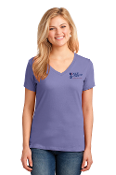Port & Company® Ladies V-Neck Tee-2 COLOR Left Chest